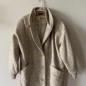 Vintage beige speckled wool oversized dolman coat